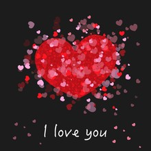 Cute Romantic Red And Pink Shining Many Hearts. ''I Love You'' Text. Happy Valentine's Day Greeting Card With Black  Background