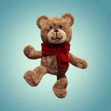 3d Render, Cute Vintage Teddy Bear, Plush Toy, Walking, Dancing, Moving, Wearing Red Scarf, Cartoon Character, Isolated Object On Blue Background