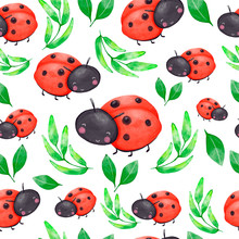 Watercolor Seamless Pattern With Red Ladybug And Green Leaves. Cartoon Illustration.