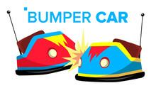 Bumper Car Vector. Attraction Hotroad Amusement Park. Bumps. Isolated Flat Cartoon Illustration