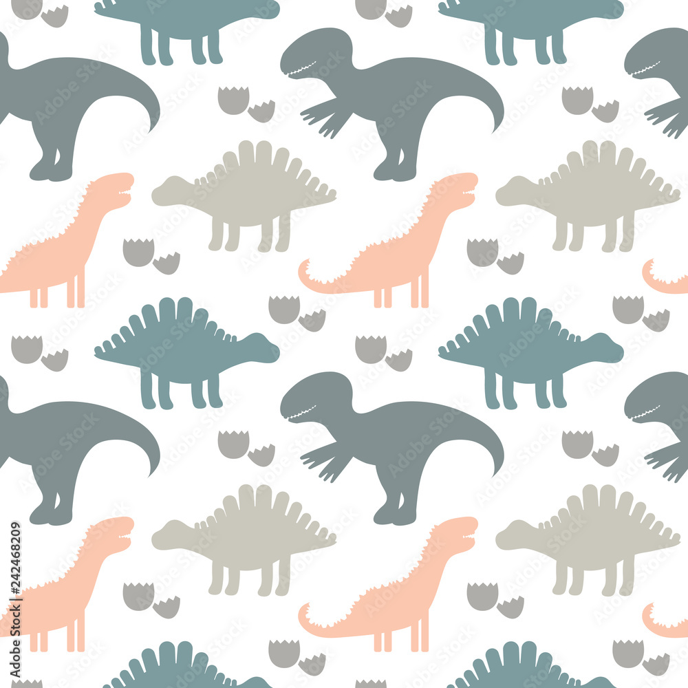 Vector illustration. Children cute seamless pattern with silhoue