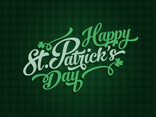 Saint Patrick's Day Calligraphic Text Label Design Elements On Celtic Green Pattern