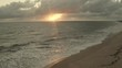 Beautiful sunrise on the beach of Touros. Rio Grande do Norte. Beaches of Brazil. Aerial view