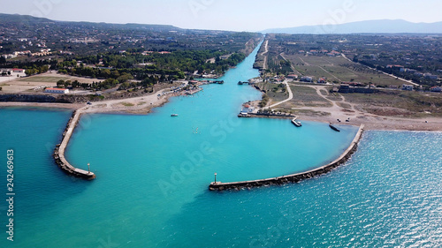 Valokuvatapetti Aerial bird's eye view photo taken by drone of Corinth Canal entrance of Isthmos