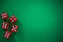 Red Poker Dices On Green Casin...