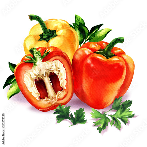 Fotografering Three sweet red, yellow peppers with green leaves parsley, bell pepper, fresh ve