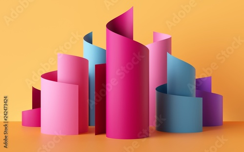 Türaufkleber Spirale 3d render, paper ribbon rolls, abstract shapes, colorful fashion background, pink blue yellow neon colors, swirl, scroll, curl, spiral, cylinder