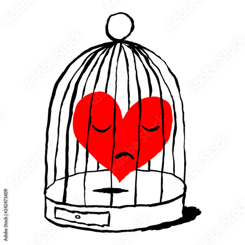 A red heart is sad in the cage for the bird isolated on white background Canvas Print