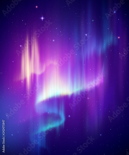 Aurora Borealis streszczenie tło, zorza polarna w nocnym niebie polarnym, zjawisko naturalne, cud kosmiczny, cud, neonowe linie świecące, widmo ultrafioletowe