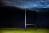 Goal post for rugby or American football. Super bowl concept photo, edit space