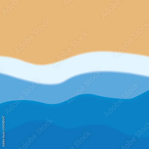 Fotografie, Obraz  wavy sea and beach background- vector illustration