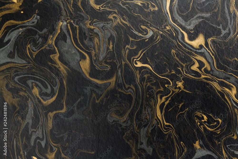 Fototapety, obrazy: marble ink paper texture black grey gold