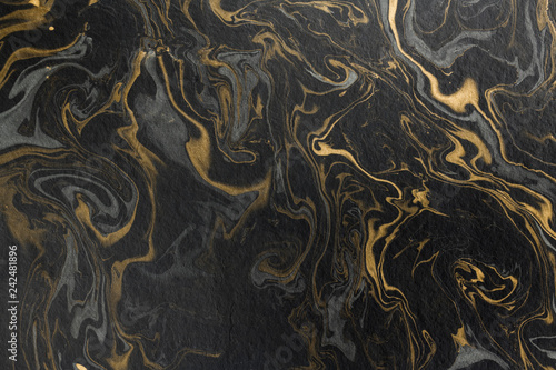 marble ink paper texture black grey gold Fototapet