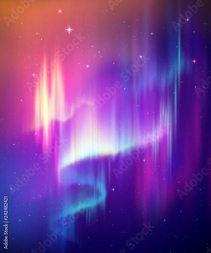 Aurora Borealis streszczenie tło, zorza polarna na nocnym niebie, zjawisko naturalne, cud kosmiczny, cud, neonowe linie świecące, widmo ultrafioletowe