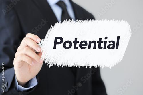 Fotografie, Obraz  Businessman Writing Potential Concept Text
