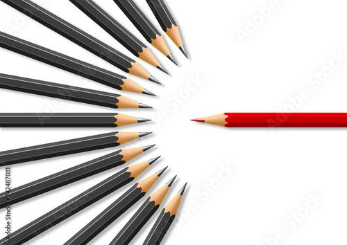 Fényképezés  Concept de la liberté d'expression avec pour symbole un crayon rouge face à des crayons noirs en opposition frontale