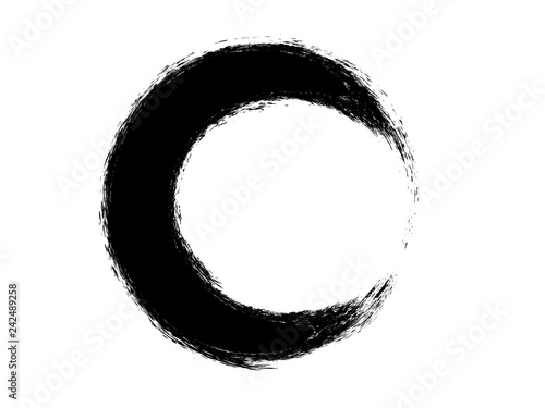 Fototapety, obrazy: Grunge circle made of ink.Brush circle.Grunge black circle.Brush oval shape.