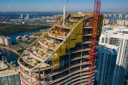 Staande foto Verenigde Staten Aerial drone inspection Ritz Carlton Residences condominium Miami Sunny Isles Beach