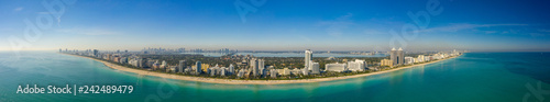 Spoed Foto op Canvas Centraal-Amerika Landen Amazing aerial panorama of Miami Beach stitched image