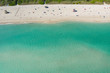 Aerial Miami Beach scenic with clear shallow winter water