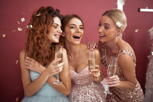 Waist Up Of Happy Ladies Enjoying Girls Party