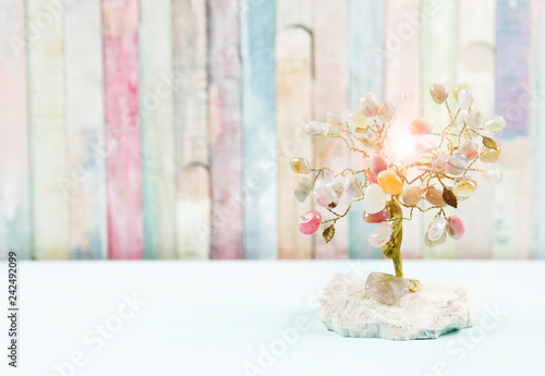 Feng shui gem tree, also called feng shui crystal tree is used for spiritual feng shui cures for love to feng shui for money Fototapeta