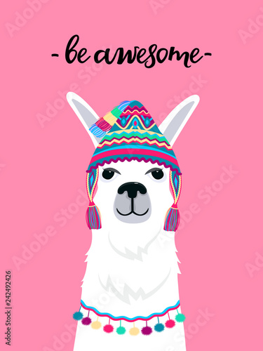 Fotografie, Tablou Alpaca in a hat with tassels