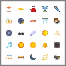 25 Shiny Icon. Vector Illustration Shiny Set. Compact Disc And Wedding Rings Icons For Shiny Works