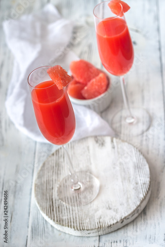 Glasses of Mimosa cocktail