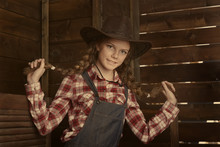 Beautiful  Girl In  Cowboy Hat.