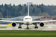 Passenger jet plane on the runway in the airport (front view)