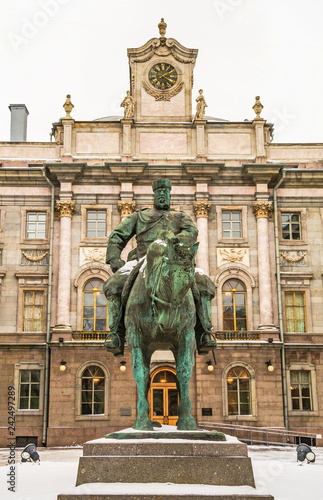 Deurstickers Historisch mon. Monument to the Russian Emperor Alexander the Third in St. Petersburg