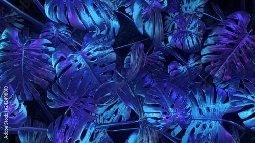 Valokuva  3d render Blue-violet abstract plants background