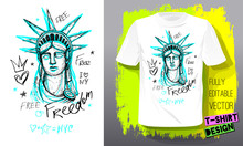 Trendy T Shirt Template, Fashion T Shirt Design, Bright, Summer, Cool Slogan Lettering. Color Pencil, Marker, Ink, Pen Doodles Sketch Style. Hand Drawn Illustration Vector.