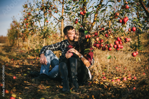 Fotografie, Obraz  Young beautiful couple sitting on the grass under an apple tree, outdoor