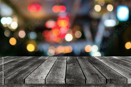 empty wooden board, table or modern wooden terrace with abstract night light bok Tapéta, Fotótapéta