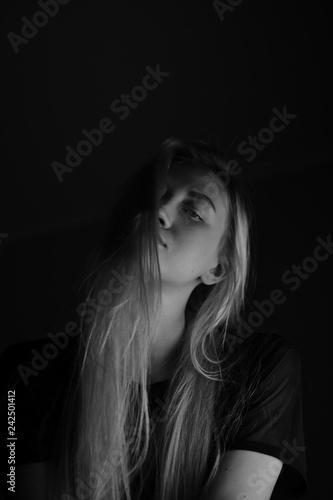 Ukrainian blonde in black and white photo shoot