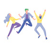 Jumping character in various poses. Group of young joyful laughing people jumping with raised hands. Happy positive young men and women rejoicing together, happiness, freedom, motion people concept.