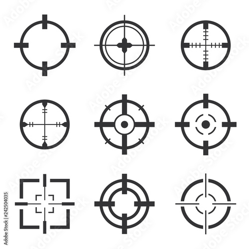 Photo Crosshair icons vector set isolated