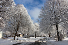 Beautiful Winter Morning Background. Winter Landscape With Small Town Street View After Blizzard. Winter Snowy Day Background.