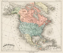 Old Map North America, Amerique Du Nord From Atlas Universel By Arthème Fayard, Pseudonyme F. De La Brugere 1878, Vintage Cartographic Map Of The United States Of America, Canada And Mexico