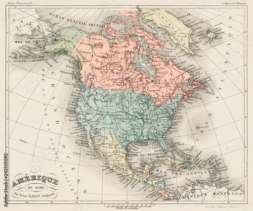 Old map North America, Amerique du Nord from Atlas Universel by ...