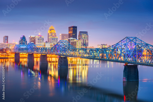 Obraz Louisville, Kentucky, USA downtown skyline on the Ohio River at dusk. - fototapety do salonu