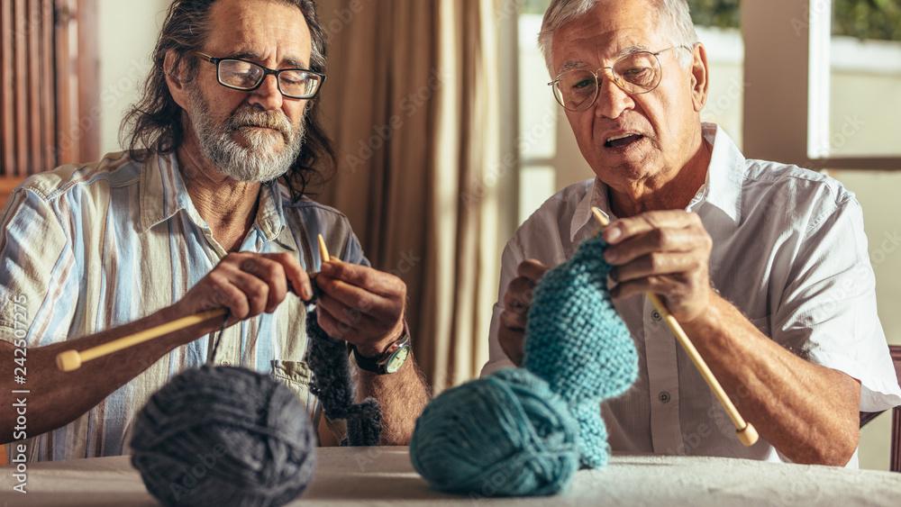 Fototapety, obrazy: Two senior friends knitting at home
