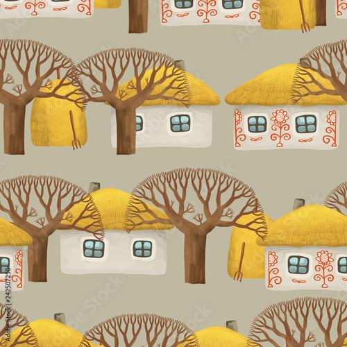jednolity-wzor-wioski-z-malym-domkiem-malowanym-bielonym-domem-nagimi-drzewami-i-stosami-siana