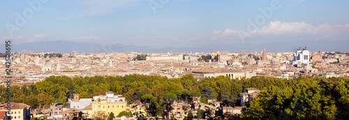 Wall Murals Central Europe View over Rome bathing in autumn sun seen from the Janiculum hill west of the city. With landmarks as the Pantheon and the Vittorio Emanuele II monument.