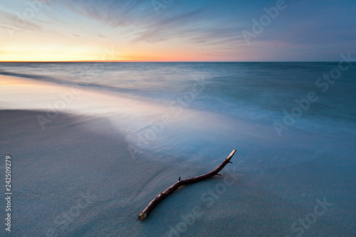 In de dag Zwart Long exposure landscape at the Sea. Beautiful Seascape sunset.