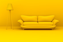 Yellow Monochromatic 3d Illustration Of A Lamp And A Sofa In A Room.