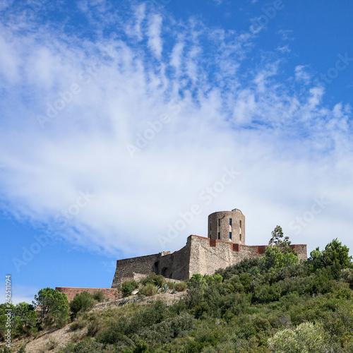 In de dag Vestingwerk Le fort Saint-Elme au sommet d'une colline à Collioure