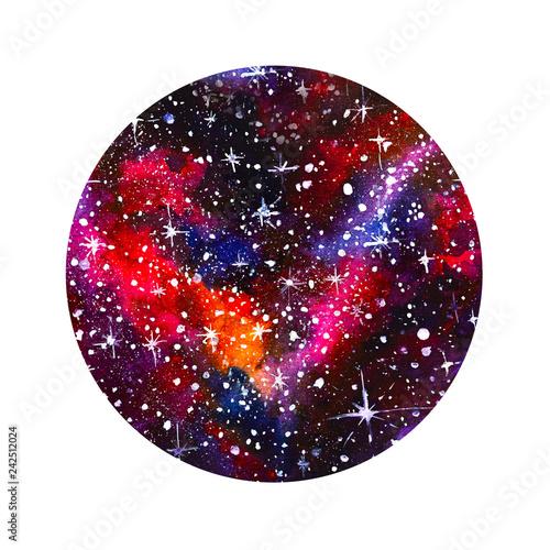 Fotografie, Obraz  cerchio acquerello stelle dipinto galassie